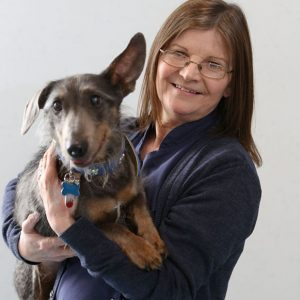 Excited Dog being held by Janet Rodgers